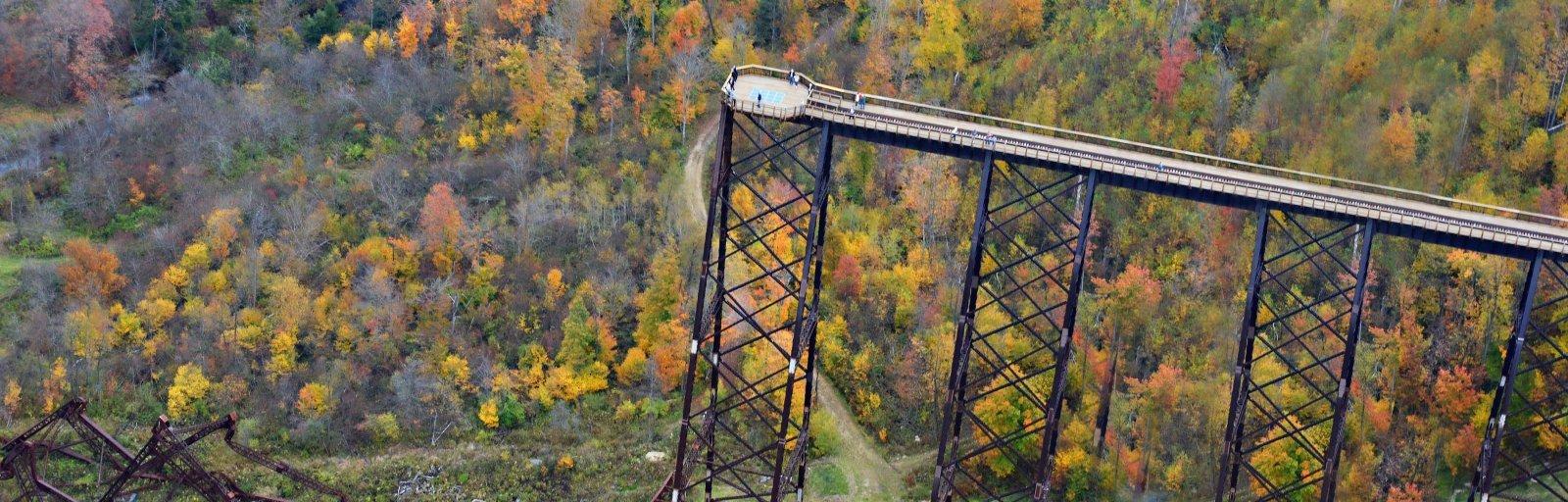 Banner Kinzua Bridge Aerial View Fall 1600 Allegheny
