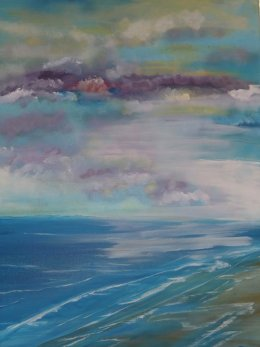 "Connie Bahan's acrylic on stretched canvas, ""Shoreline."""