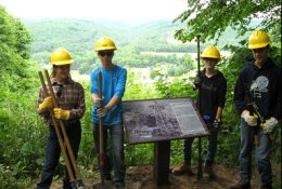 Members of the Marienville Youth Conservation Corps (YCC) crew who installed the new interpretive signs at the Tidioute Overlook. From left: Rachel Baker, Andrew Foys, Emily Everett, Max Thompson.