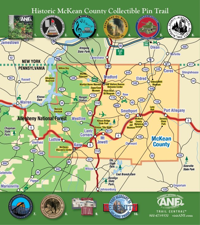 Historic McKean County Pin Trail Map