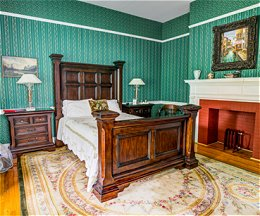 Victorian style bedroom, including fireplace
